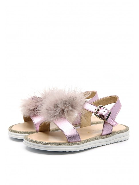 FEATHERS METALIZED SANDALS