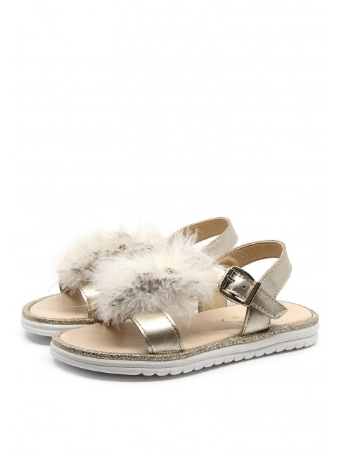 6574 FEATHERS METALIZED SANDALS