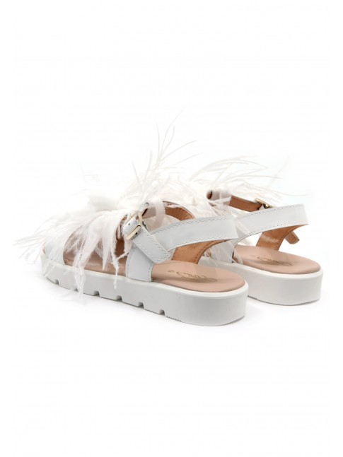6657 FEATHERS EMBELLISHED SANDALS