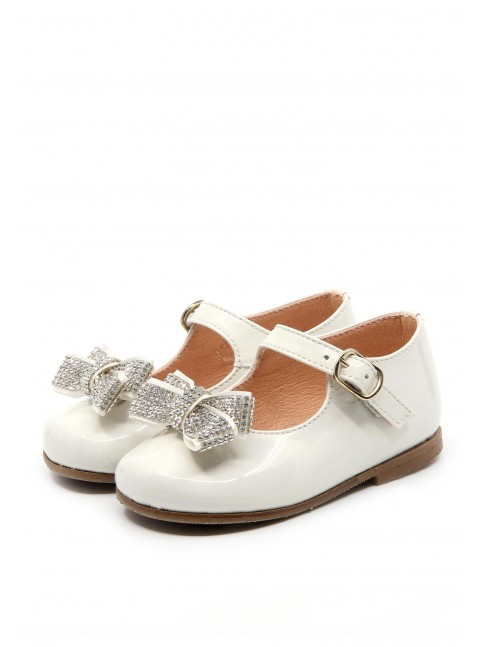 1161 BEIGE PATENT BABY SHOES