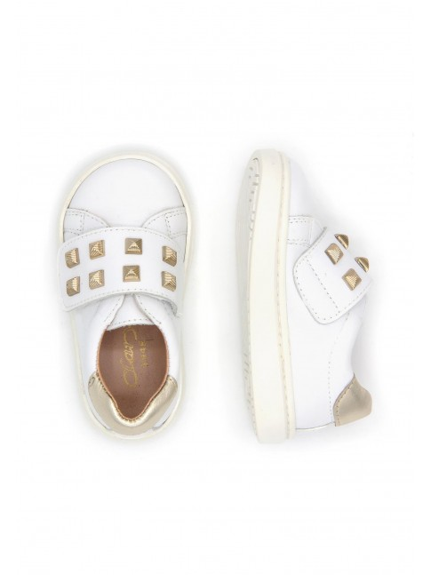 1271 WHITE EMBELLISHED STUDS SNEAKERS