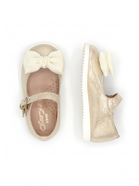 1686 GOLDEN BABY SHOES DOUBLE BOW