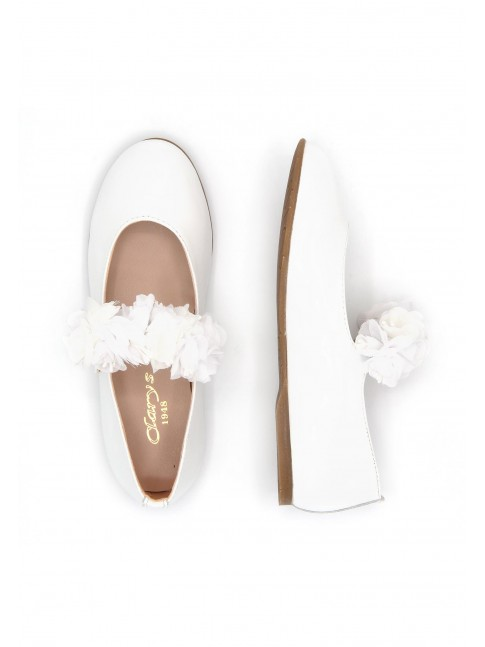 4668 COMMUNION WHITE PATENT MARY JANES