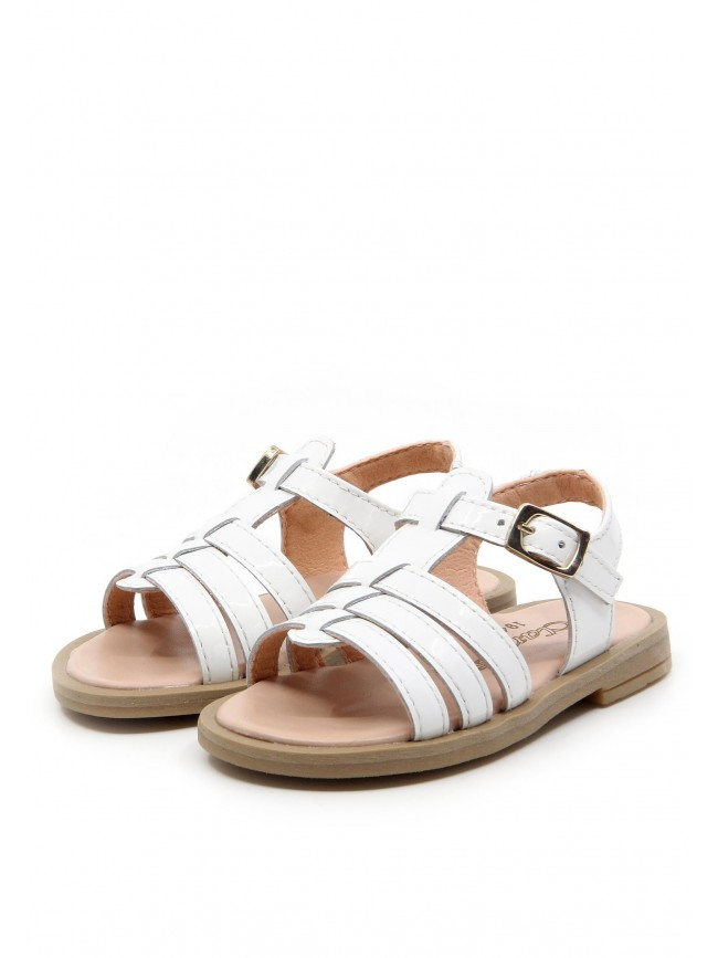 6125 WHITE LEATHER SANDALS