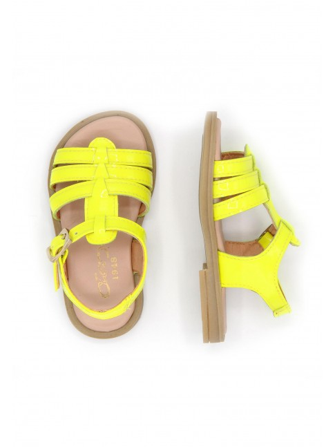 6125 FLUORESCENCE PATENT YELLOW SANDALS