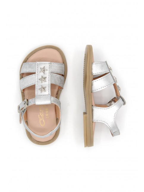 6178 BABY SILVER SANDALS WITH STARS