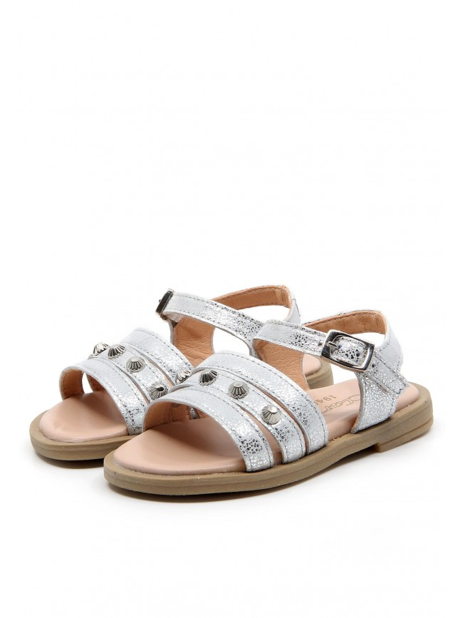 6176 SILVER BABY SANDALS WITH STUDS