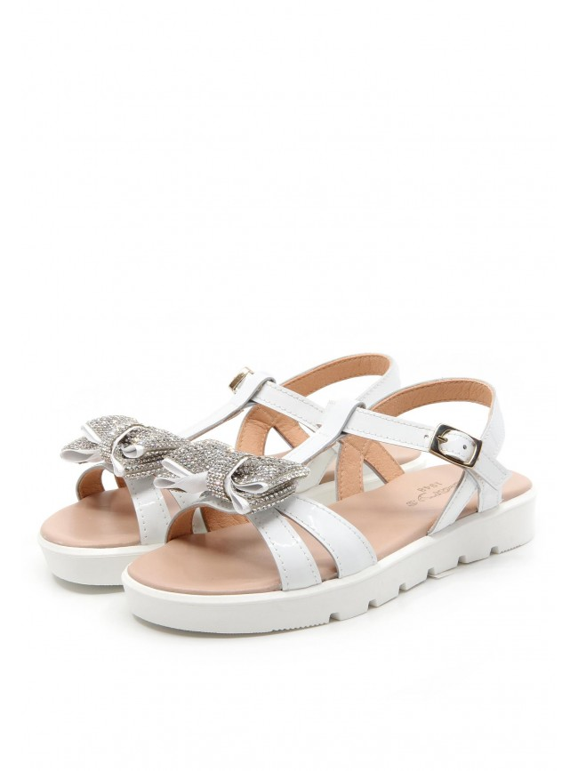 6498 WHITE SANDALS WITH CRYSTAL BOW