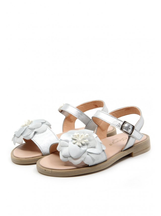 6499 SILVER LEATHER SANDALS FLOWERS