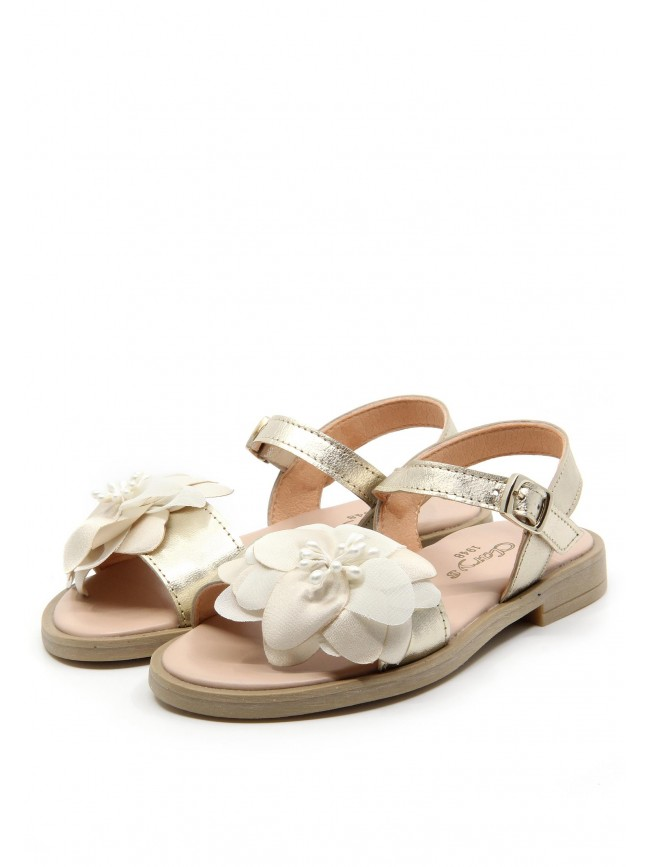 6499 GOLDEN LEATHER SANDALS FLOWERS