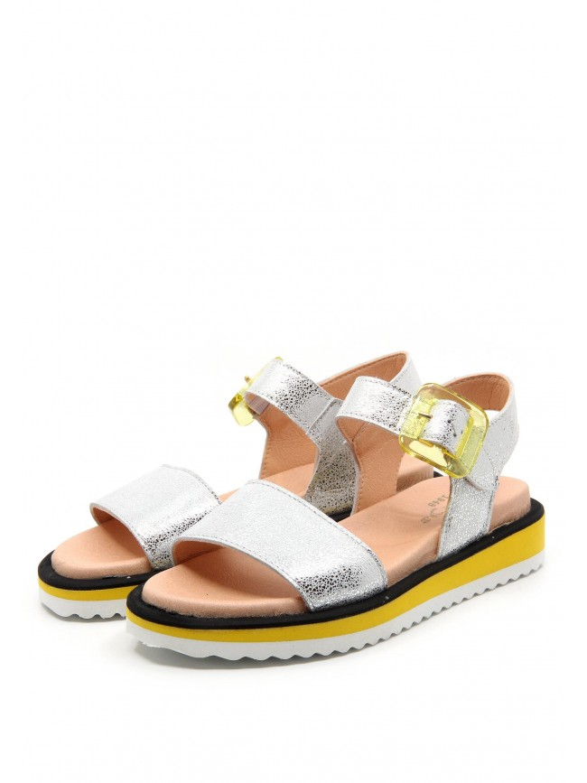 6583 SILVER LEATHER SANDALS