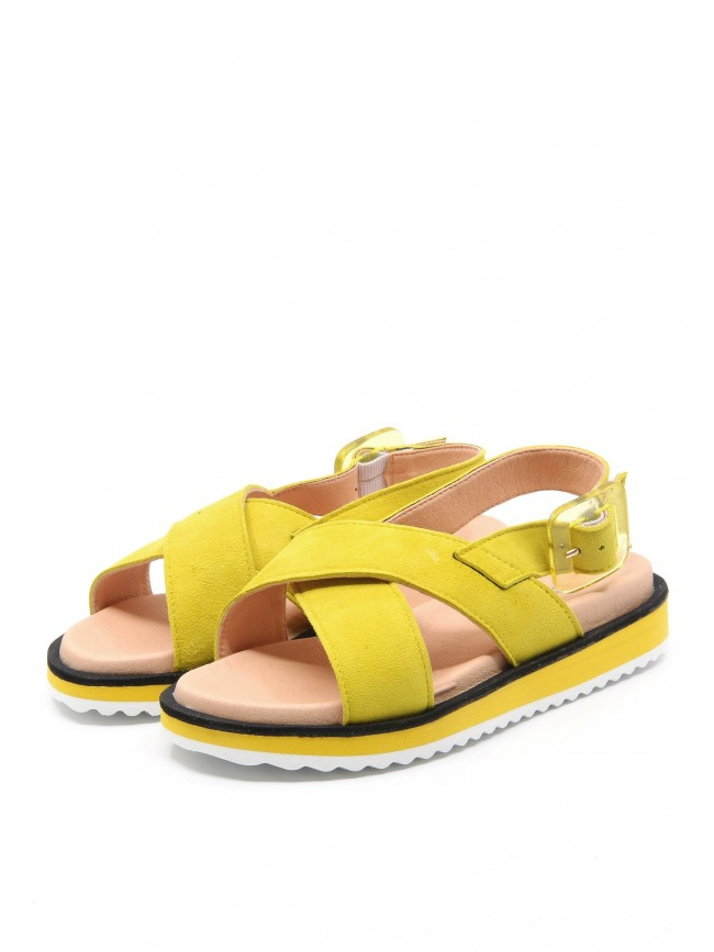 6584 YELLOW LEATHER NEON SANDALS