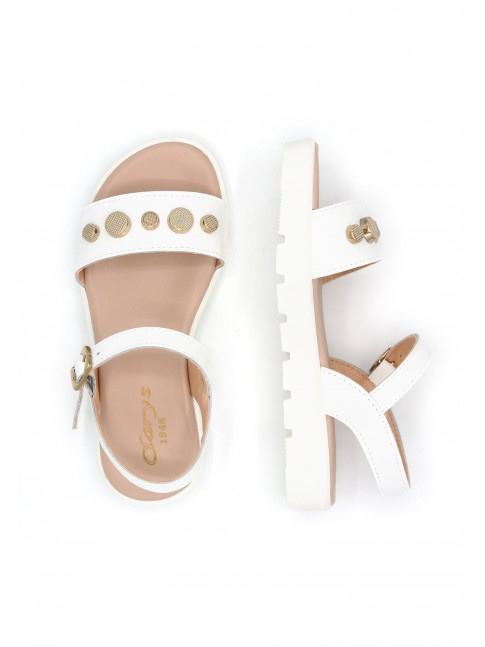 6656 WHITE PATENT LEATHER SANDALS WITH COLORED BUTTONS