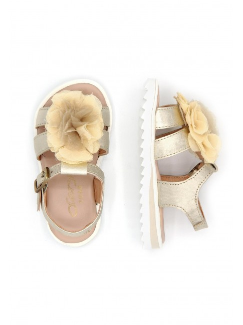6179 GOLDEN SARA LEATHER SANDALS