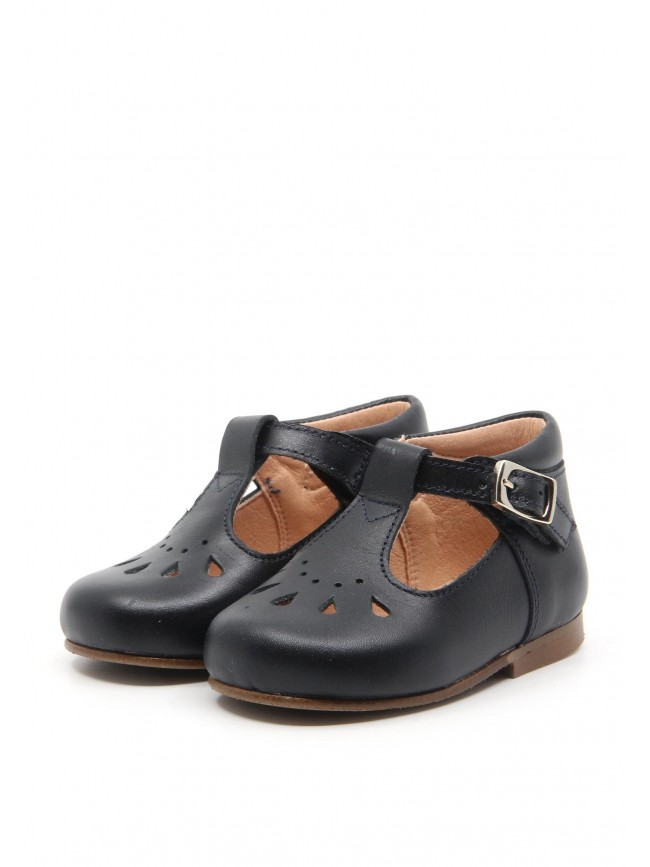 1891 NAVY LEATHER BABY SHOES
