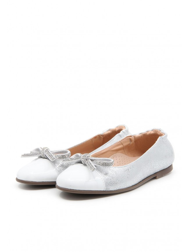 4666 SILVER COMMUNION BALLERINAS WITH BOW