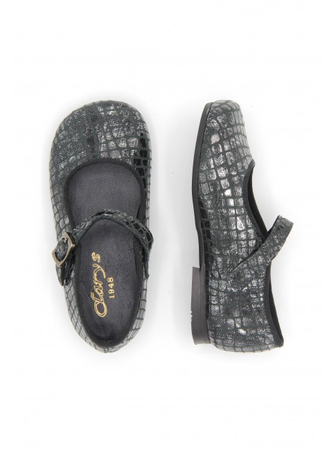 0957 GREY METALIZED MARY JANES WITH BUCKLE CLOSURE