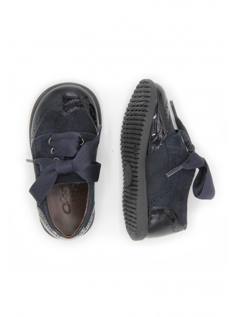 1433 COMBINED NAVY LEATHER BABY SHOES