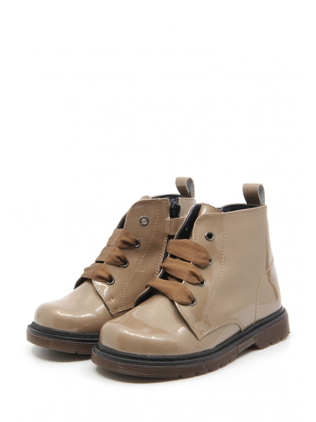 1681 TAUPE PATENT BABY BOOTIES