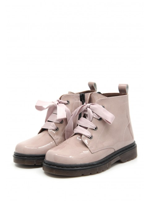 1681 PINK PATENT BABY BOOTIES