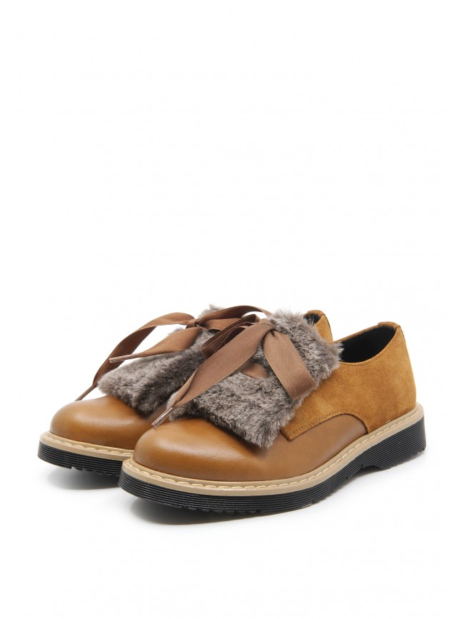 5875 BROWN LEATHER SHOES WITH FUR TOP