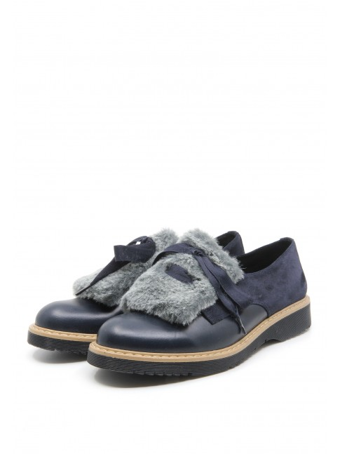 5875 NAVY SHOES WITH TOP FUR