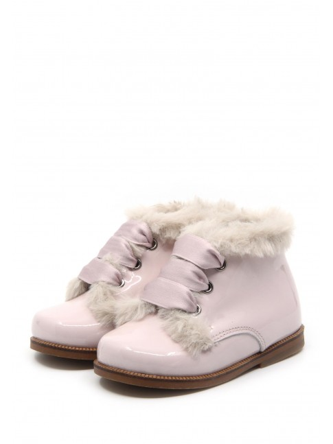 1567 NUDE PATENT BABY BOOTIES WITH FUR